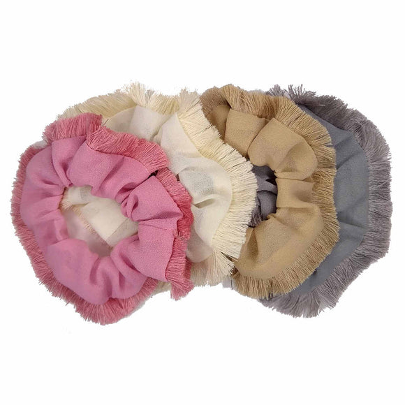 Georgette Scrunchies with Fringe