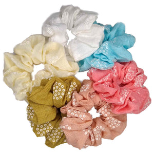 wholesale Gauze Scrunchies with Flowers