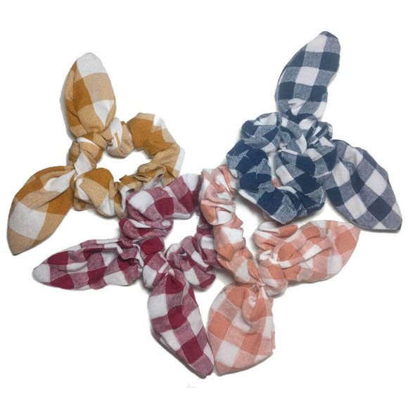 gingham plaid scrunchies with tails, bulk scrunchie pack