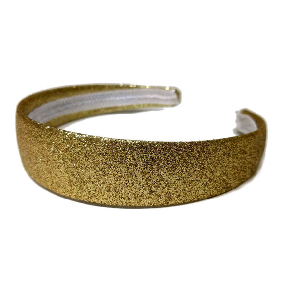 1 inch wide glitter headbands, gold