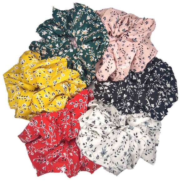 oversized large calico floral scrunchies