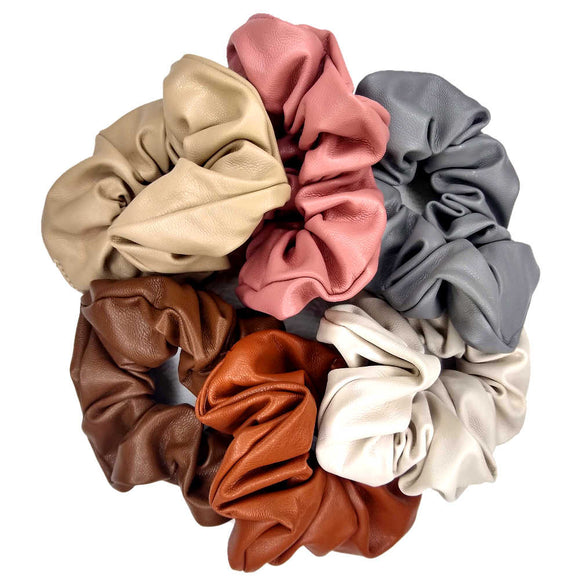 Leather look scrunchies