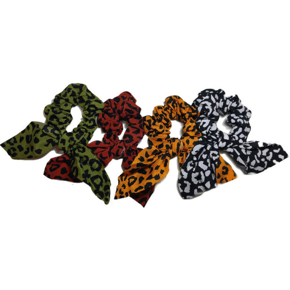 two-tone leopard scrunchies with tails