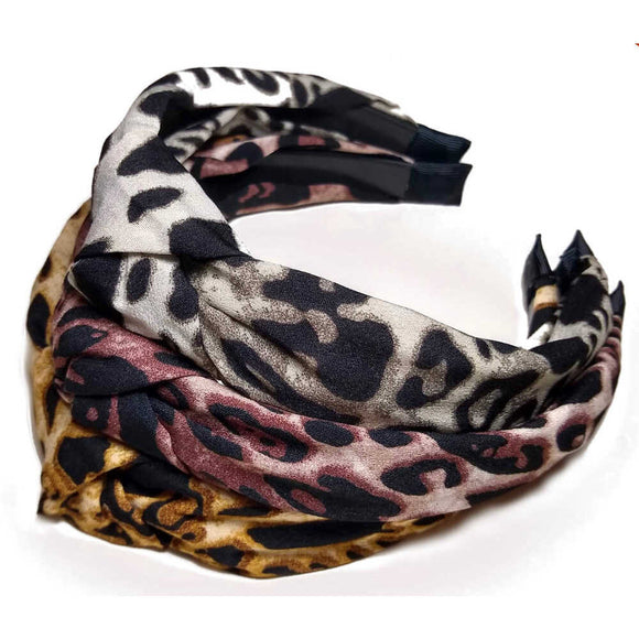 leopard print knotted turban headband - assorted