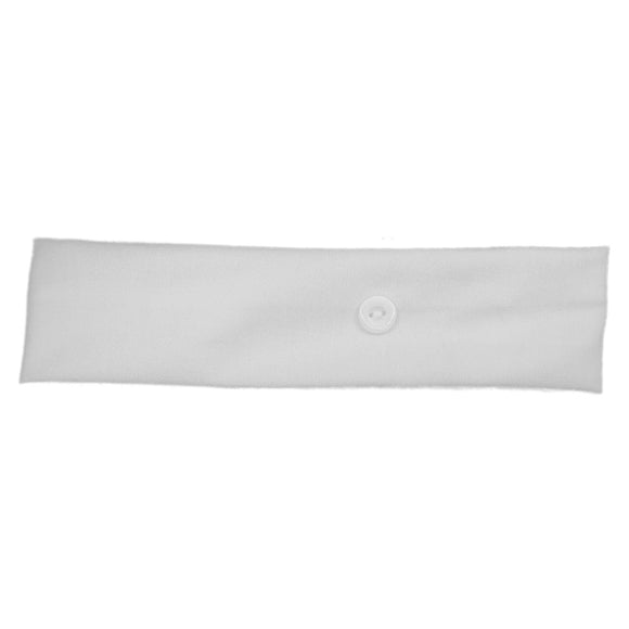Stretch Headbands with Mask Buttons, white