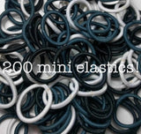 Threddies mini ponytail elastics in black white grey assortment, 200 pack