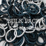 black and white ponytail bulk hair ties