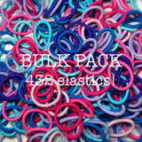 pink, purple, blue bulk hair ties