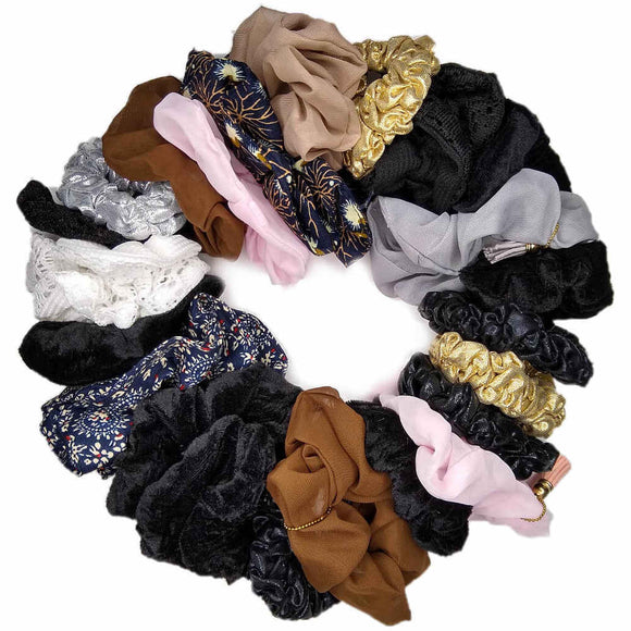Mixed media scrunchie set
