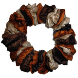 brown beige and mocha velvet scrunchie set