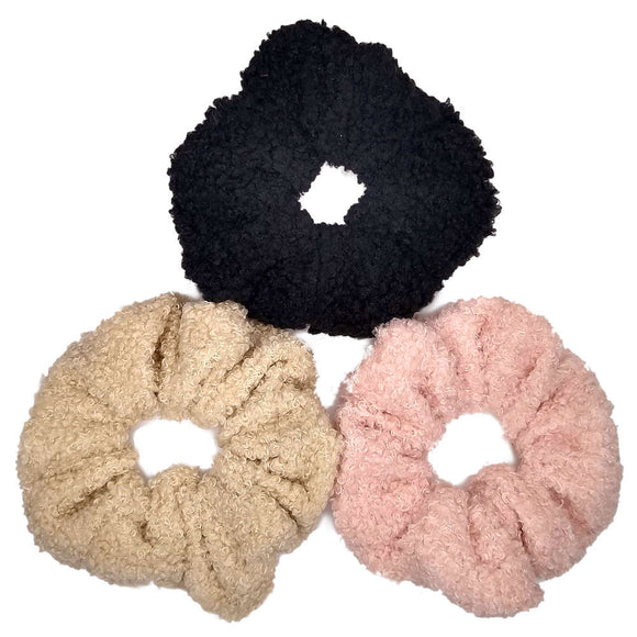 oversized boucle teddy bear scrunchies