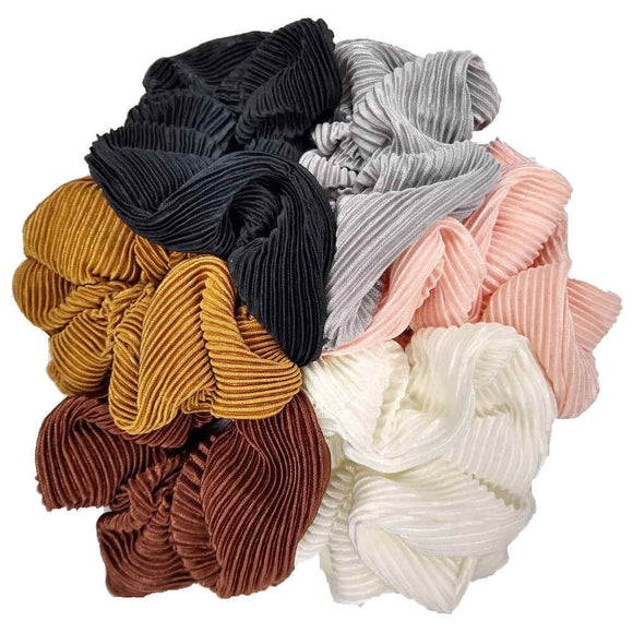large pleated satin scrunchies