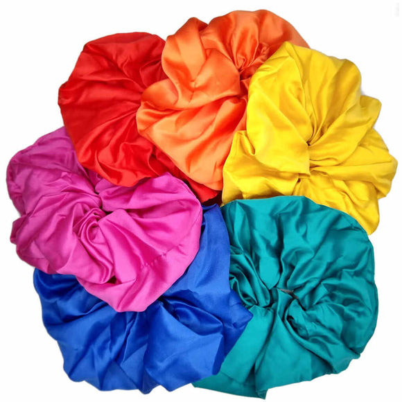 oversized satin scrunchies, bright assortment