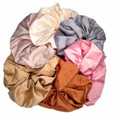 oversized satin scrunchies, warm neutral assortment