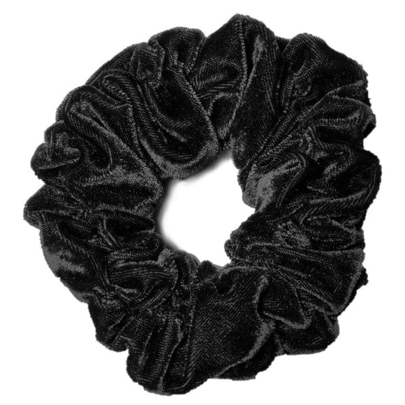 Black oversized velvet scrunchie