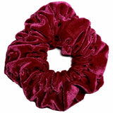 oversized velvet scrunchies, cranberry