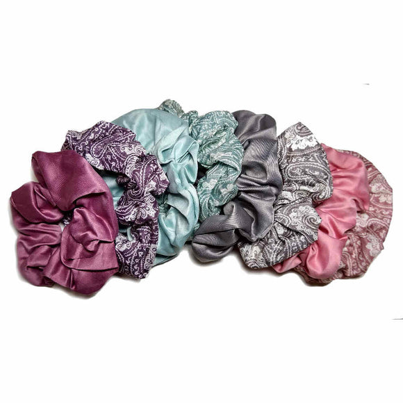 paisley and satin scrunchies set, muted colors
