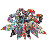 Paisley scrunchies with extra long tails, 4 piece scrunchie pack