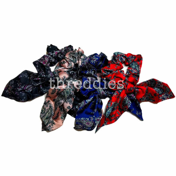 paisley scrunchies with ties or tails, scrunchie pack