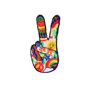 psychedelic peace fingers patch