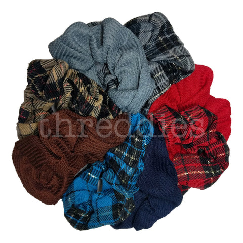 Plaid and Thermal Scrunchies // SET of 8
