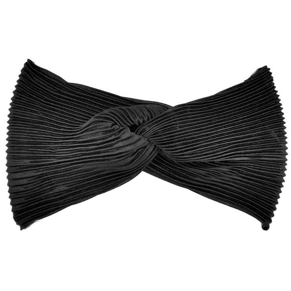 pleated satin turban headbands, black