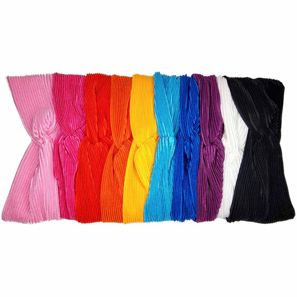 pleated satin turban headbands, rainbow assortment