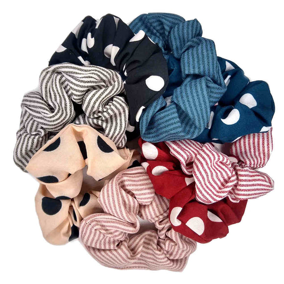 Polka Dot and Skinny Stripe Scrunchies