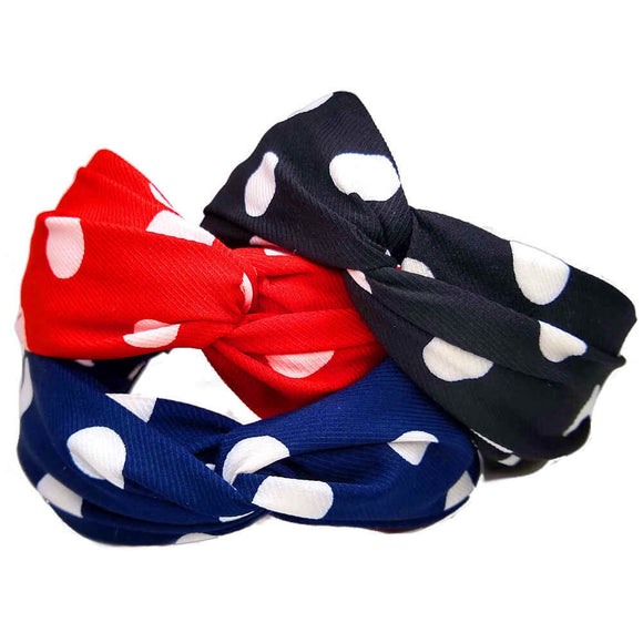 polka dot turban twist headbands - assorted
