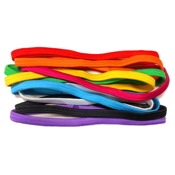 thick elastic headbands, rainbow assortment