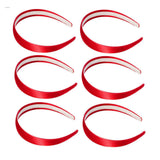 One inch wide, red, satin headband