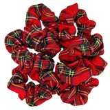 plaid scrunchies, red