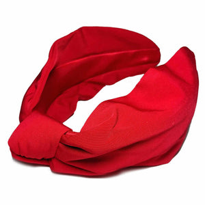 red matte satin twill turban headband