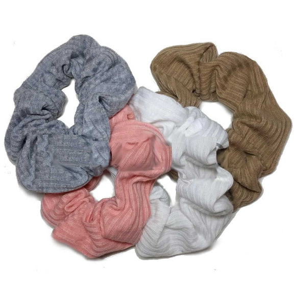 ribbed cotton scrunchies