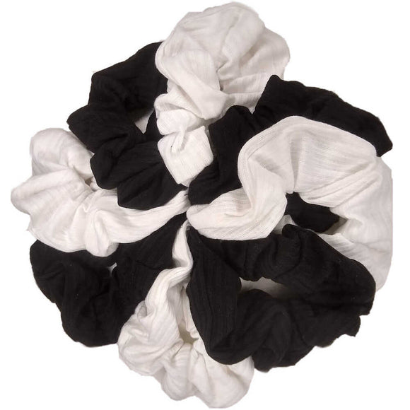 ribbed cotton scrunchies in bulk, black and white
