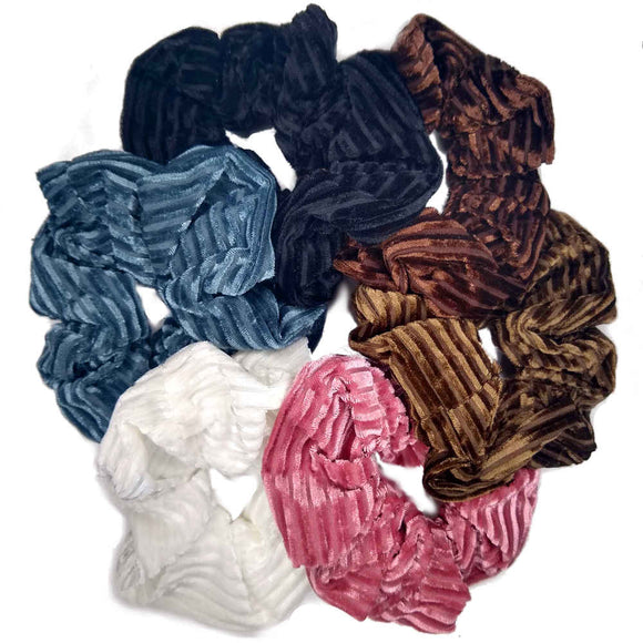 Large ribbed velvet corduroy scrunchies
