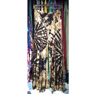 seamed tie dye wide leg pants