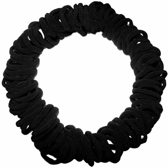 seamless knit hair elastics, black
