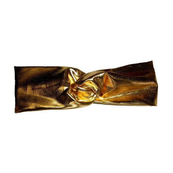 Shiny Turban Headband Gold