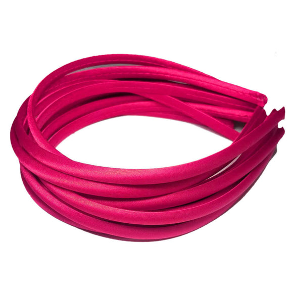 skinny satin headbands, hot pink