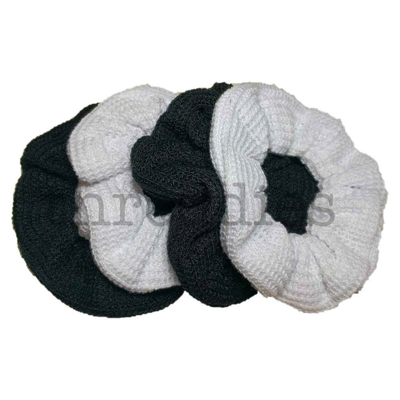 Black and White Sweater Knit Scrunchie Set