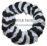 thermal scrunchies, black and white, 36 piece scrunchie bulk pack