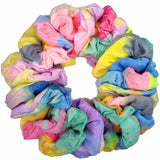 tie dye scrunchies, watercolor assortment, bulk pack of 24
