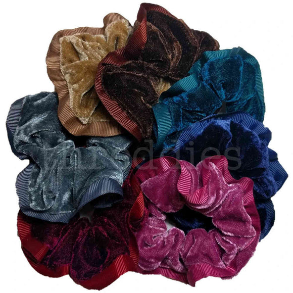 Velvet and Grosgrain Scrunchies pack of 7 velvet scrunchies