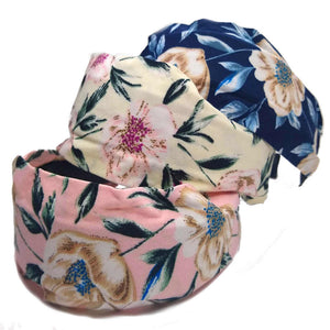 wide cottage floral headbands with teeth