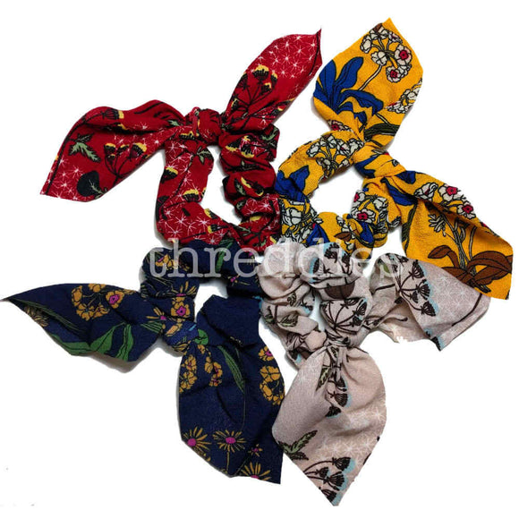 wildflower scrunchies with tails, 4 scrunchies pack