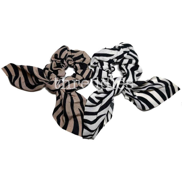 zebra stripe scrunchies with ties