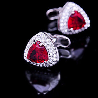 Triangle Red Crystal Cufflinks