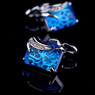 David Emmett Blue Crystal Cufflinks