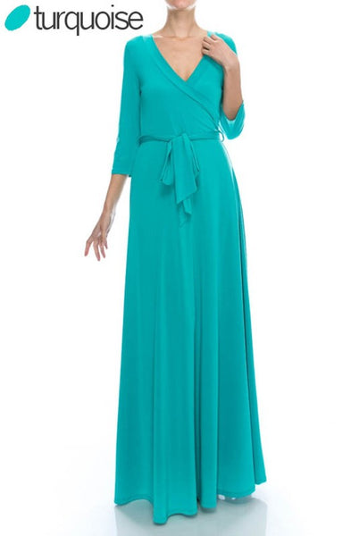 3/4 Sleeve V-Neck Maxi Dress - Zipora's Closet Boutique